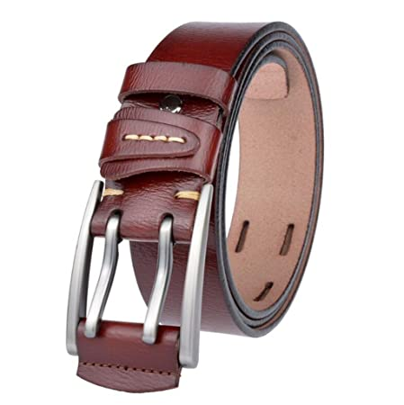moda abbastanza carino vari stili JSHFD Cintura da uomo in vera pelle Cintura alta con fibbia doppia ...