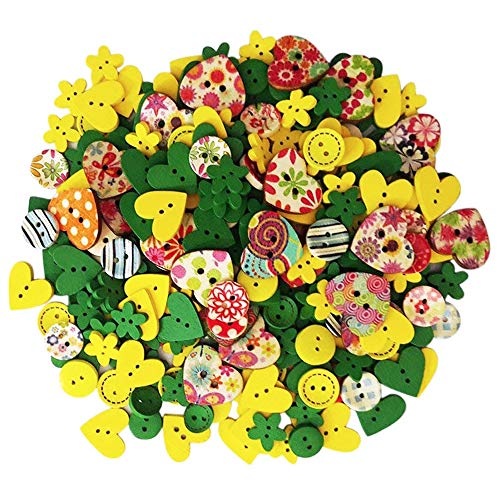 (Happlee 100Pcs Wooden Buttons in Bulk Mixed Colors & Shapes, Wood Sewing Buttons for Sewing, Collections, Arts & Crafts Projects, Scrapbooking, DIY Decoration and)