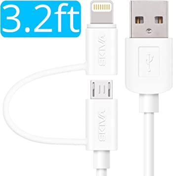 Apple MFi Certified Retractable Flat Charge and Sync 2-in-1 Cable with Lightning /& microUSB connectors for iPhone X 8 8Plus 7 7+ SKIVA Model:CB145 2-Pack Cord2Go Duo Samsung /& More 2.6ft//0.8m