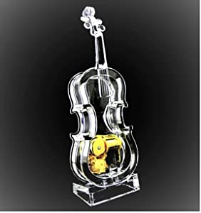UTowels Mechanical Wind-up Violin Music Box with LED Lights Transparent Acrlic Melody Castle in The Sky Carrying You