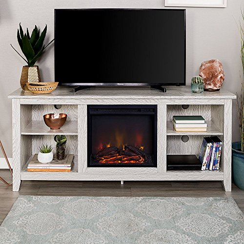 New 58 Inch Wide White Wash Finished Fireplace Television Stand by Home Accent Furnishings