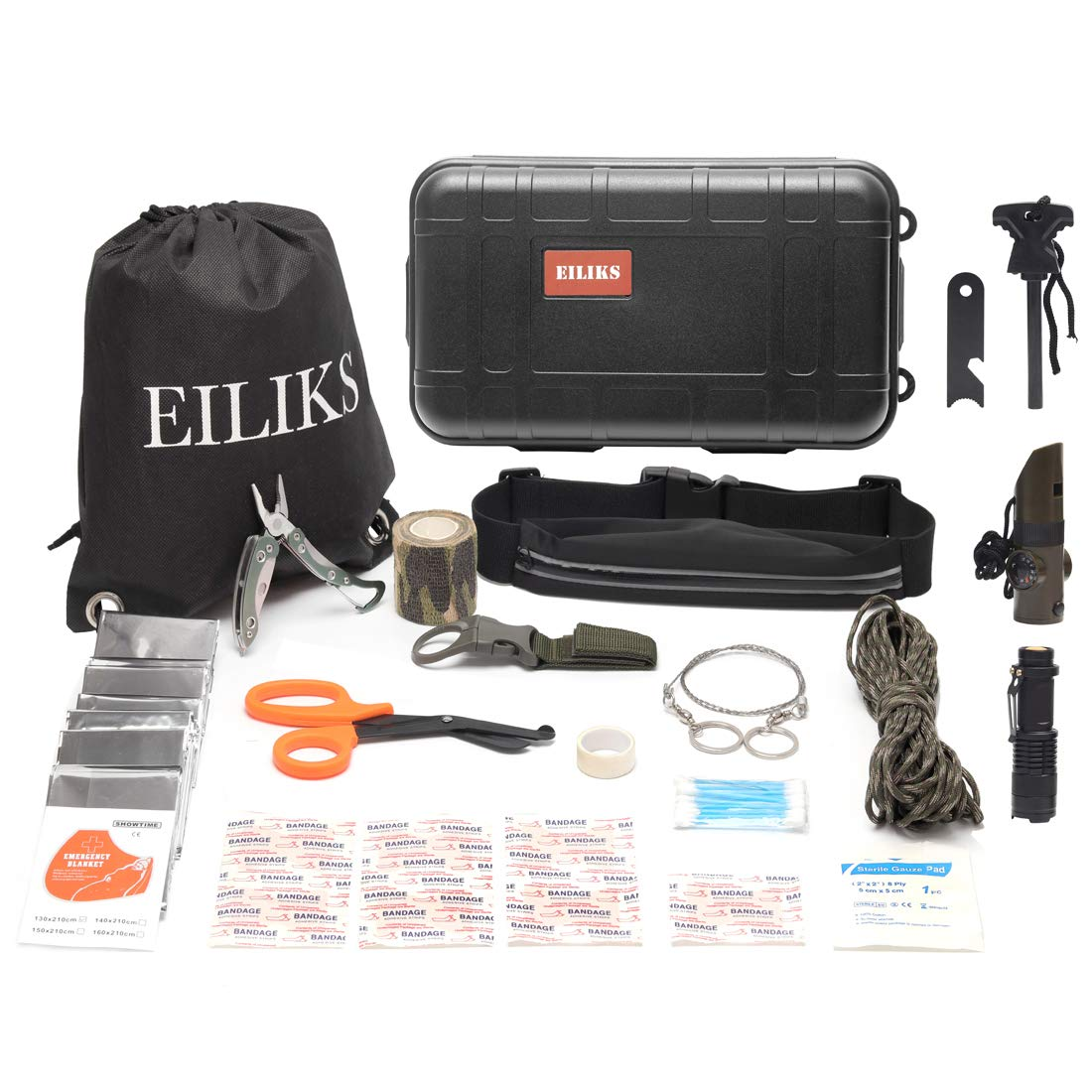 EILIKS First Aid Survival Kit Outdoor Emergency Kit 47 in 1 Earthquake Survival kit Trauma Bag Car Home Work Office Boat Camping Hiking Travel Adventures by EILIKS