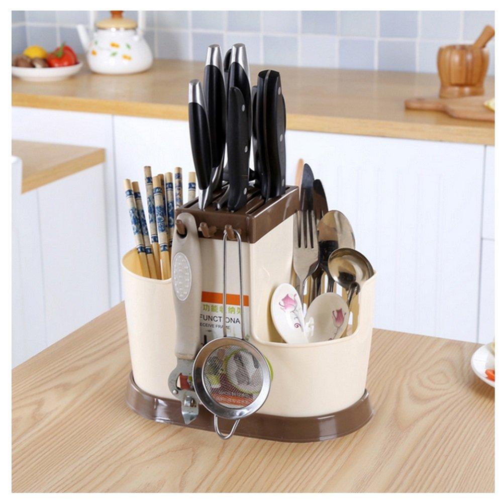DAYNECETY Chopstick Rest Holder Rack Stand Kitchen Utensil Holder Organiser Cutlery Racks Tray Storage Basket Box Container (Khaki)