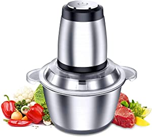 Electric Meat Grinder, 2L Stainless Steel Food Chopper with 4 Sharp Blades and Stainless Steel Bowl Food Processor for Meat, Vegetables, Fruits, Nuts and Milkshake, 250W(8 Cups)