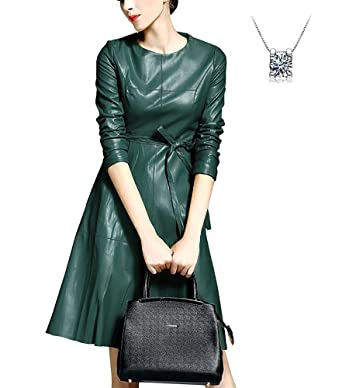 9ac3623db86 LACUS Women s Elegant Faux Leather Long Sleeve Party A-line Dress with Belt  (S