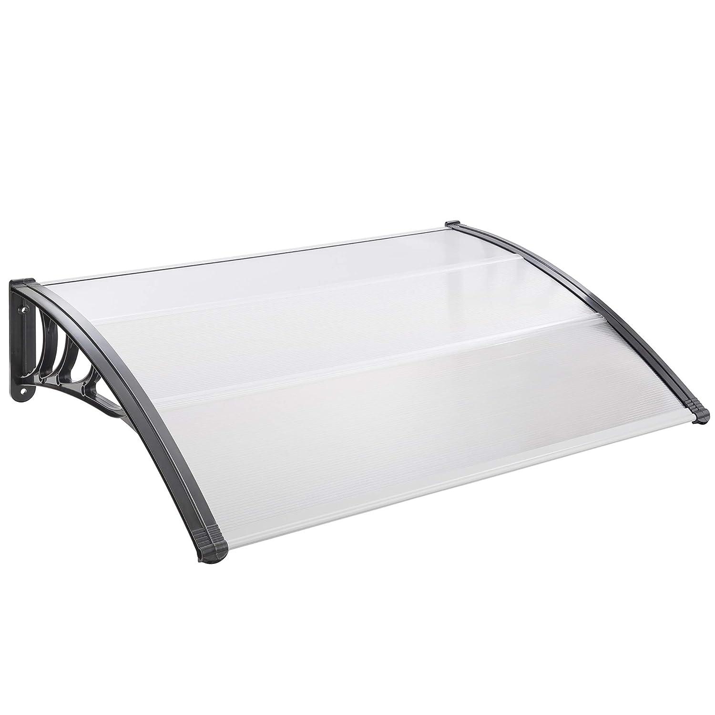 Grau wei/ß grau Arebos T/ürvordach 100 x 150 cm//UV-best/ändig//wetterfest // schwarz