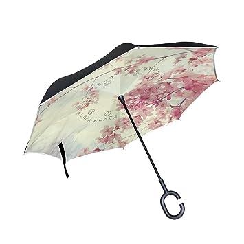 imobaby recto Self-Standing reserva paraguas hermoso japonesa rosa Sakura doble capa auxiliar plegable paraguas
