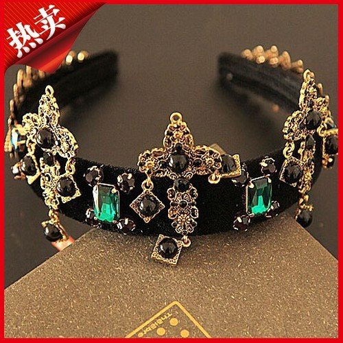 Quantity 1x  Fashion_retro_cross_carved_emerald_wide_edge_ Headband Bridal Hair Ornaments hoop_ earrings ()