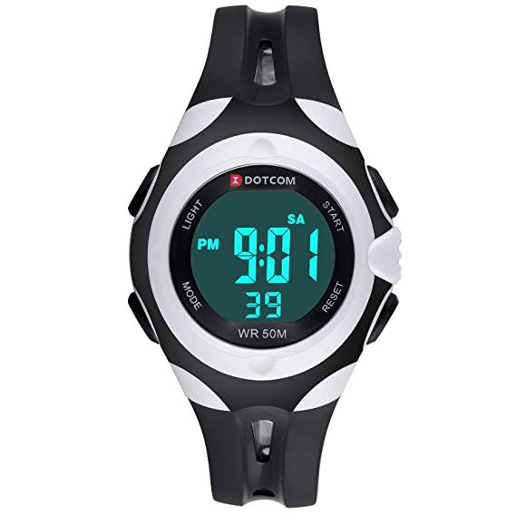 Reloj Digital para Niños,Reloj Infantil Deportivo 7 Colores Luz LED Multifuncional Impermeable 5ATM Relojes de Pulsera para Exteriores con Alarma para ...