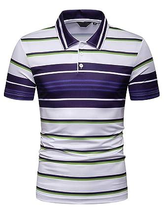 c0d475dc70 KLJR Men Stripe Print T-Shirt Color Block Short Sleeve Slim Plus Size Golf  Polo Shirt at Amazon Men s Clothing store