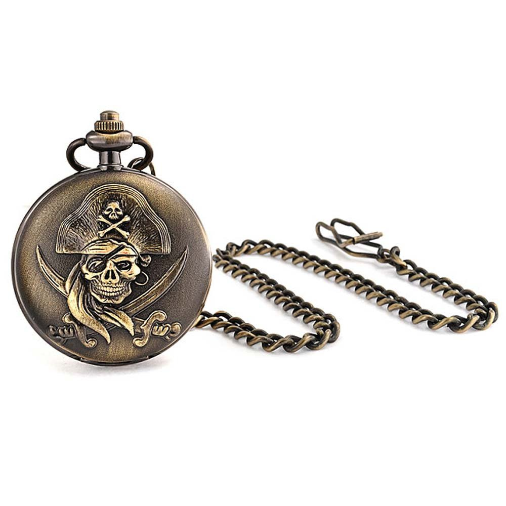 Caribbean Pirate Skull Crossbones White Dial Pocket Watch for Men Plated Oxidized Bronze Alloy with Chain
