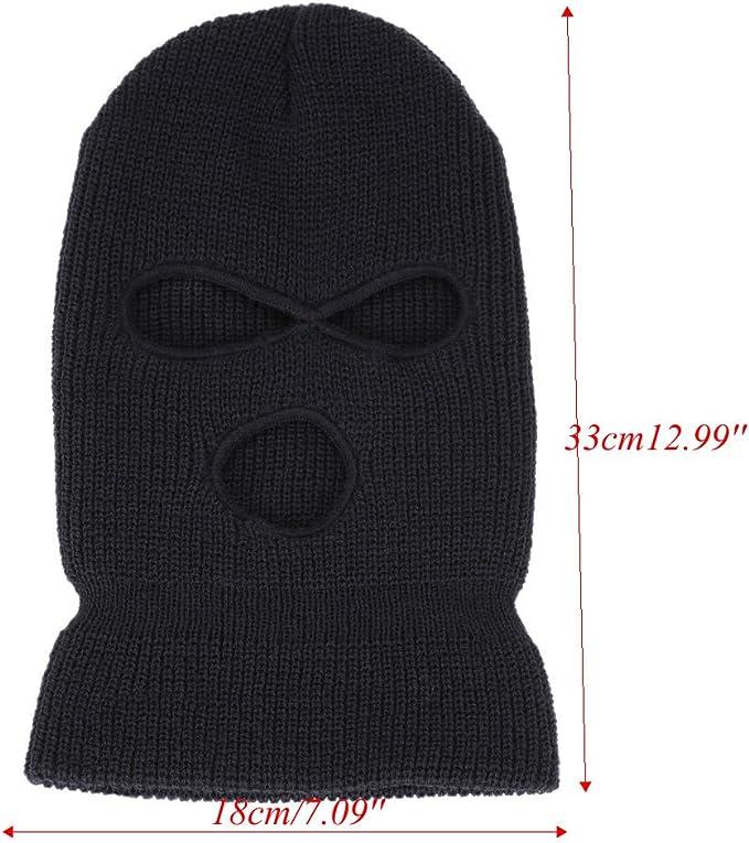 Passamontagna Nero 3 Fori Acrilico Cappello Lavorato a Maglia di Pesca Esercito