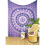EYES OF INDIA - Queen Purple Ombre Elephant Mandala Tapestry Bedspread Beach Picnic Boho Bohemia