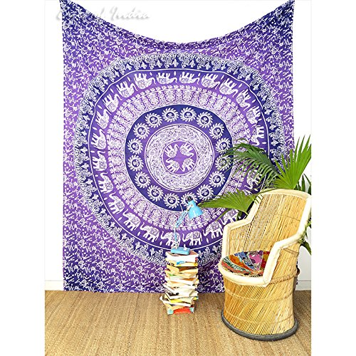 Find Discount EYES OF INDIA - Queen Purple Ombre Elephant Mandala Tapestry Bedspread Beach Picnic Bo...