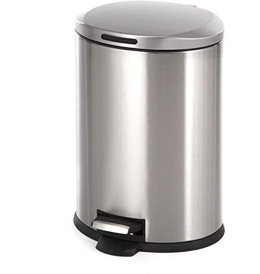 Amazon Com Home Zone Living 3 Gallon Kitchen Trash Can Small Semi Round Stainless Steel Step Pedal 12 Liter Home Kitchen