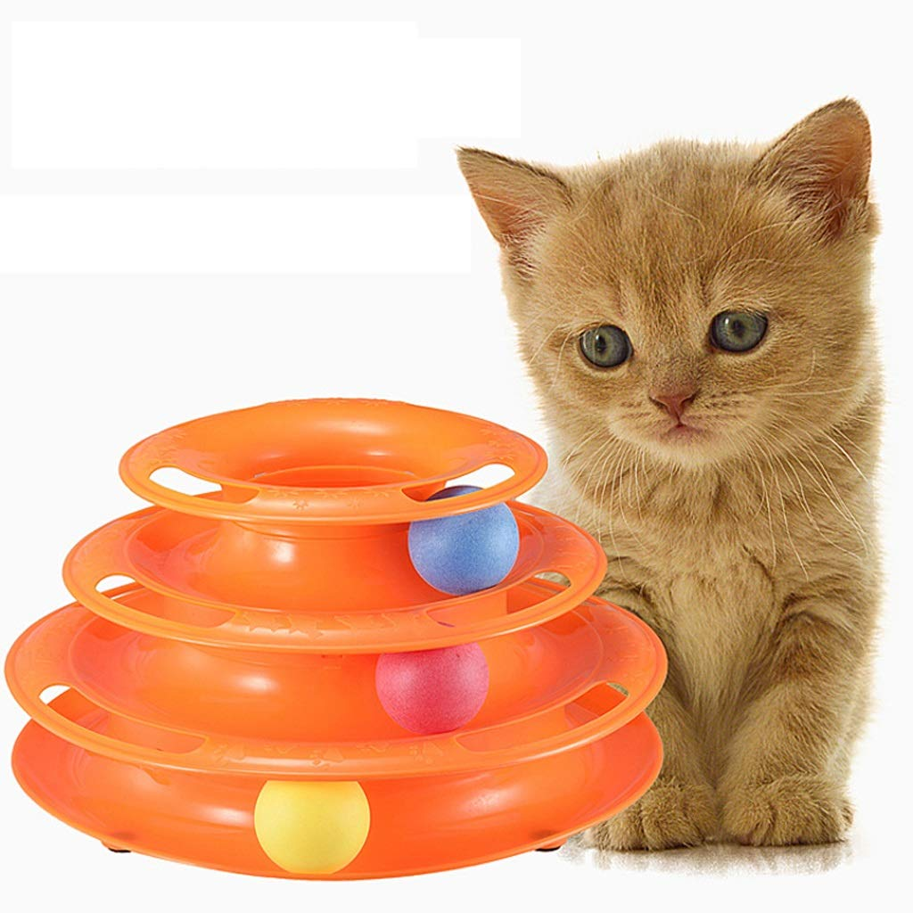YSNBM Pet Toy Three Layers Pet Toys Intelligence Crazy Play Ball Tray Cat Toy ,Catching Game Toy Funny Interactive Cat Toys Cat Toys, Pet Cat Toy Ball Cat Catching Ball Game Toys/Tower of Tracks Ball by YSNBM