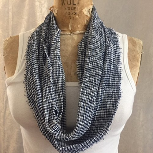 Infinity scarf, Mini Check, navy blue and white, polyester crinkle with fringed edges. Handmade in USA.