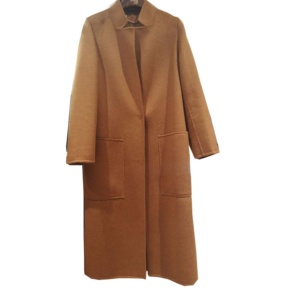 CG Women's Winter Fashionable Trench Wool Coat with Pocket Plus Size Jacket Overcoat 890G070 (Caramel, XXL)