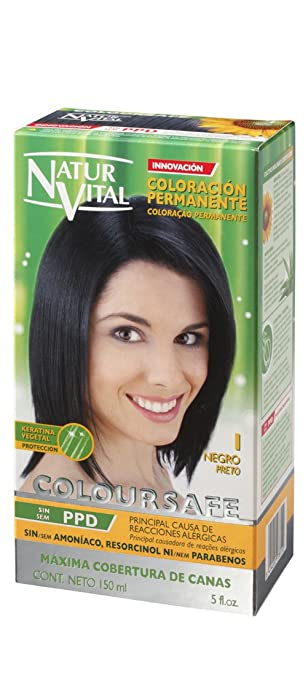 Permanent Hair Dye,Permanent Hair Color. Coloursafe, No Ammonia,Resorcinol,Parabens, or PDD. (~1 Black Hair)