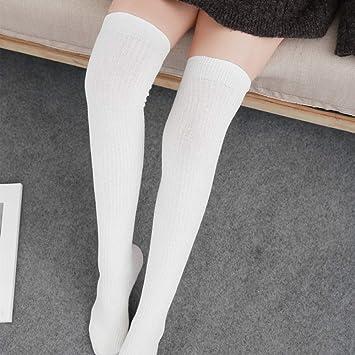 ZhiGe Mujer Calcetines hasta la Rodilla,3 Pares de Calcetines Rayas Verticales Sobre los Calcetines hasta la Rodilla Calcetines de algodón con Doble Aguja y ...