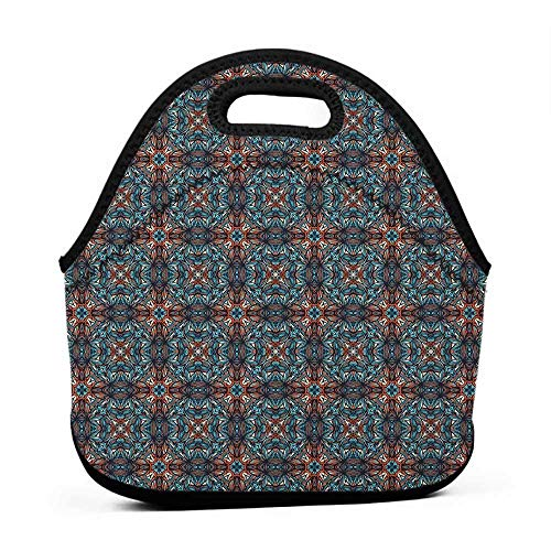 Convenient Lunch Box Tote Bag Ethnic,Abstract Funky Floral
