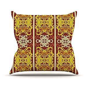 "KESS inhouse aa1001aop0318x 45,7""mydeas mariposa perro Damasco Amarillo, Rojo"" Cojín Manta de exterior, multicolor"