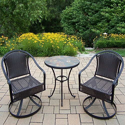 Sedona Bistro - Oakland Living Corporation Hometown 3 Piece Bistro Set with table and Sedona Wicker Swivel Chairs