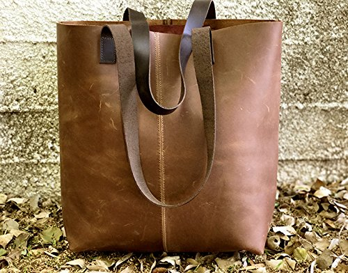 Distressed Brown tote bag Leather shopper sturdy leather handbag Handmade handmade purse by Leather Bags and Accessories Handmade by Limor Galili