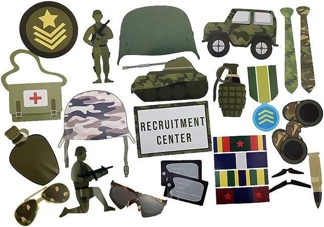Accesorios de fotos militares (32 piezas) para cabinas de fotos, cumpleaños y mucho más. Nuestros accesorios de fotos militares para fiestas son prefabricados (no DIY) para tu comodidad.: Amazon.es: Hogar