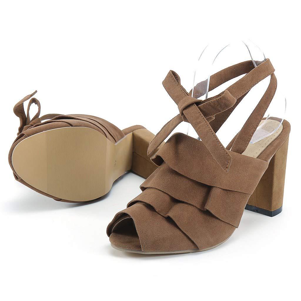 Wobuoke Fashion Women Ankle Strap Chunky Heel Ruffles Peep Toe Shoes Heeled Sandals