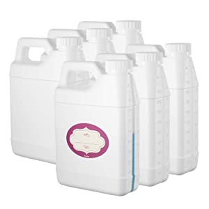 Pack of 6 - Rectangular White F-Style Jugs - Empty 32 oz Plastic Bottle with Scale Line - Jug Container with Child Resistant Airtight Lids and Labels - for Home and Commercial Use - BPA Free HDPE