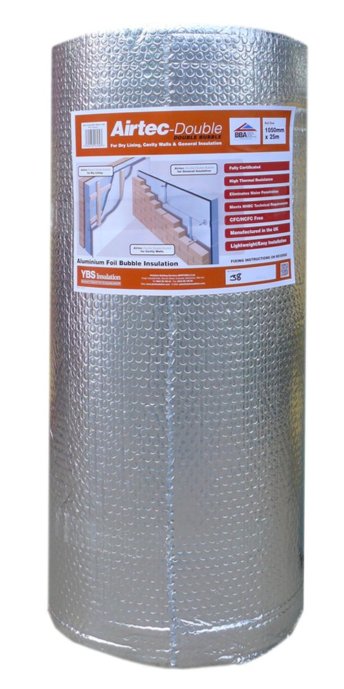 Airtec Film isolant double multicouche à bulles 1050 mm x 25 m x 7, 2 mm YBS Insulation 5060078161893