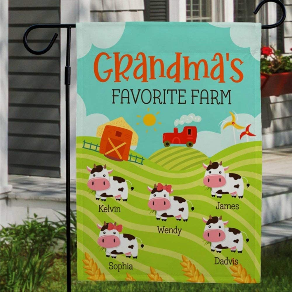 DONL9BAUER Grandmas Farm Flag Garden Flag Vertical Double Sided Personalized Grandkid Names, Sunflower Flag Mothers Day Present Yard Outdoor Decoration Seasonal Flag Banner for Patio Lawn 12x18 Inch