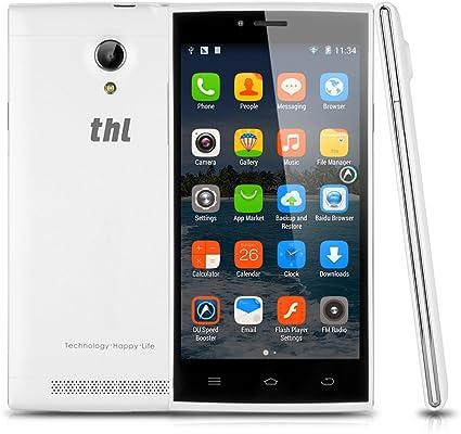 Último movil THL T6S 5 pulgadas de pantalla táctil capacitiva Android 4.4 MT6582 Quad-Core 1G 8G 3G + 2 SIM GPS Wi-Fi de radio Bluetooth Smartphone G-sensor blanco: Amazon.es: Electrónica