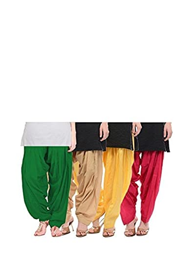Bully Women s Cotton Patiala Salwar Bottoms (Combo Of 4) (Free Size)   Amazon.in  Clothing   Accessories f5215ecca