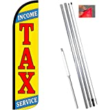 3 TAX SERVICE yel//red 11.5/' x 3/' WINDLESS SWOOPER FLAGS BANNERS three