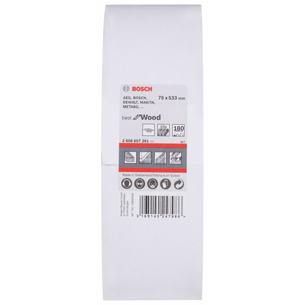 10 Stk. Bosch Professional Schleifband C470 Best for Wood+Paint 75x533mm Korn 180