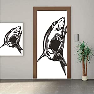 AngelSept Shark Door Wall Mural Wallpaper Stickers, Sketch of Wild Fish with Open Mouth Power King of The Oean Illustration 24x63 Vinyl Removable Decals for Home Decoration