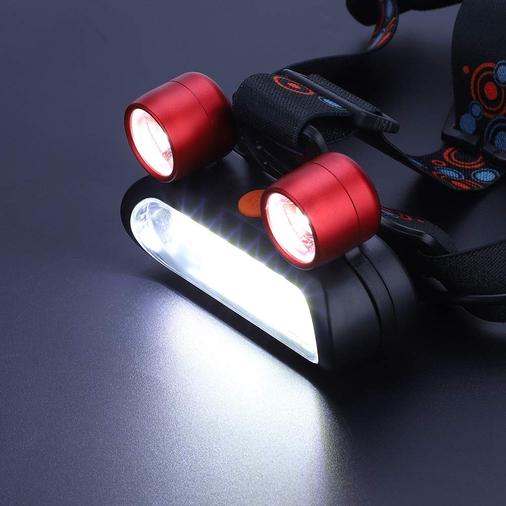 Dilwe Linterna Frontales 150000LM 2 XM-L T6 COB LED Linterna de Cabeza Impermeable Recargable USB