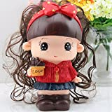 Red Kawaii Cute Cartoon A doll Piggy Bank Resin Personalized Baby Nursery Decor Home Furnishing decoration