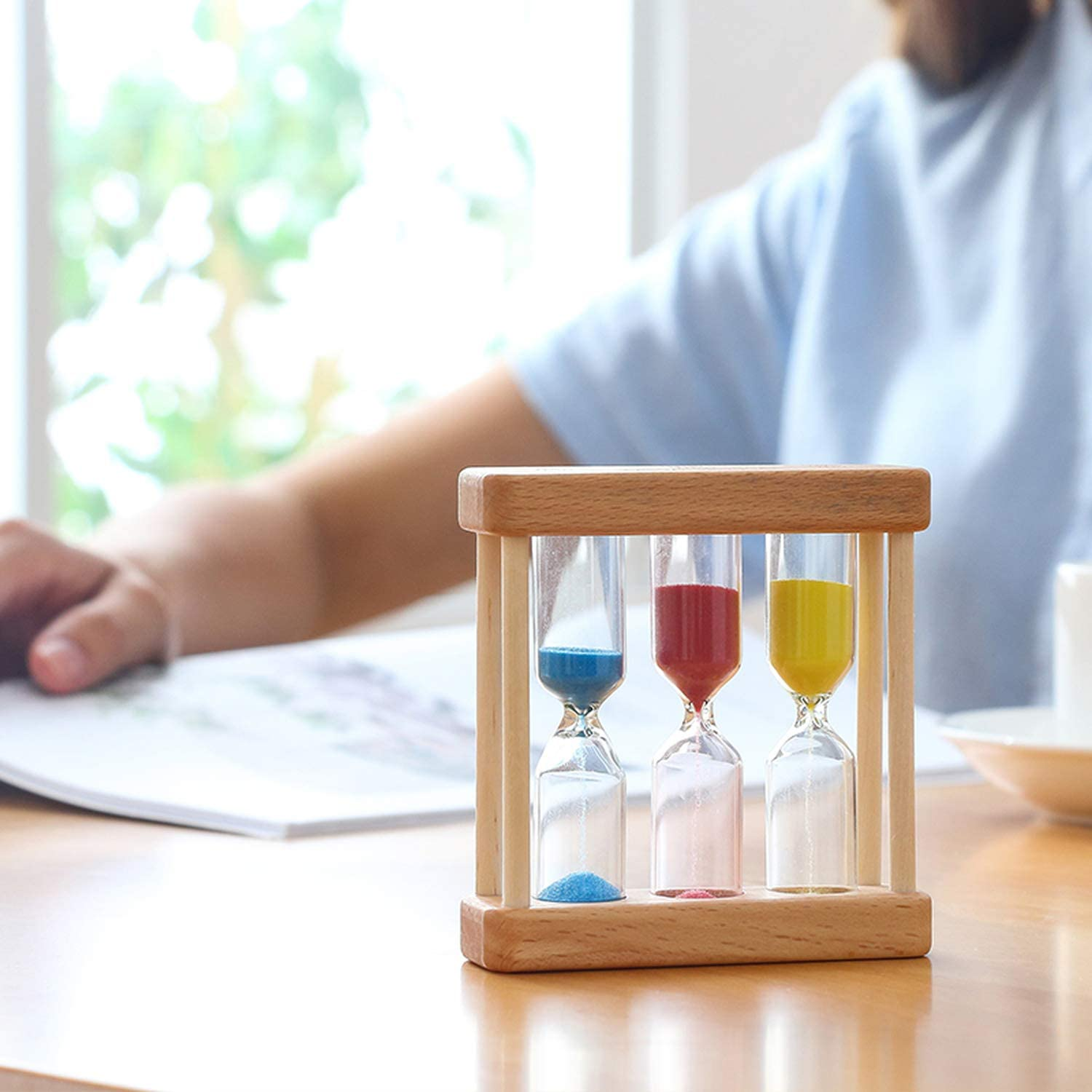 1//3//5 Minutes Glass Hourglass Wood Frame Sand Timer Clock Home Decor Birthday Day Gift,Blue red Yellow,1pcs