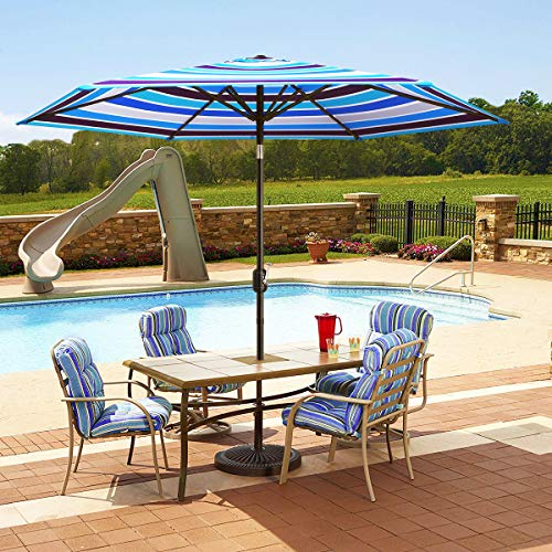 MOVTOTOP 9ft Patio Umbrella, UPF50+ Table Umbrella with Crank and Ventilation Weatherproof Cover, Tilt Thickened Pole for Patio Pool Porch (Navy Blue Patio Umbrella With White Pole)