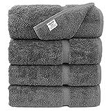 #4: Luxury Premium long-stable Hotel & Spa Turkish Cotton 4-Piece Eco-Friendly Bath Towel Set (Gray)