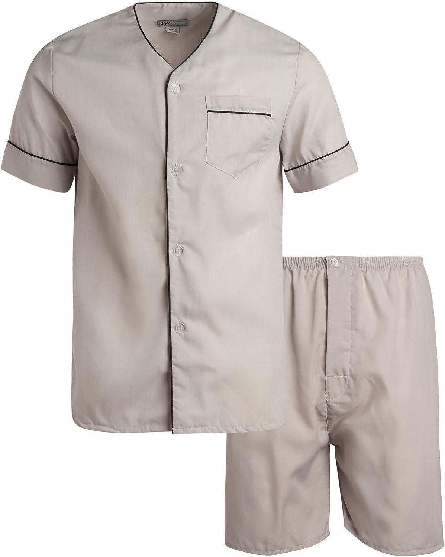 Ten West Apparel Men's 2-Piece Sleepwear Pajama Set with Short Sleeve Shirt and Lounge Shorts