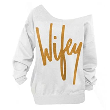 Begonia.K Women's Wifey Shirt Letter Print Off The Shoulder Slouchy Pullovers