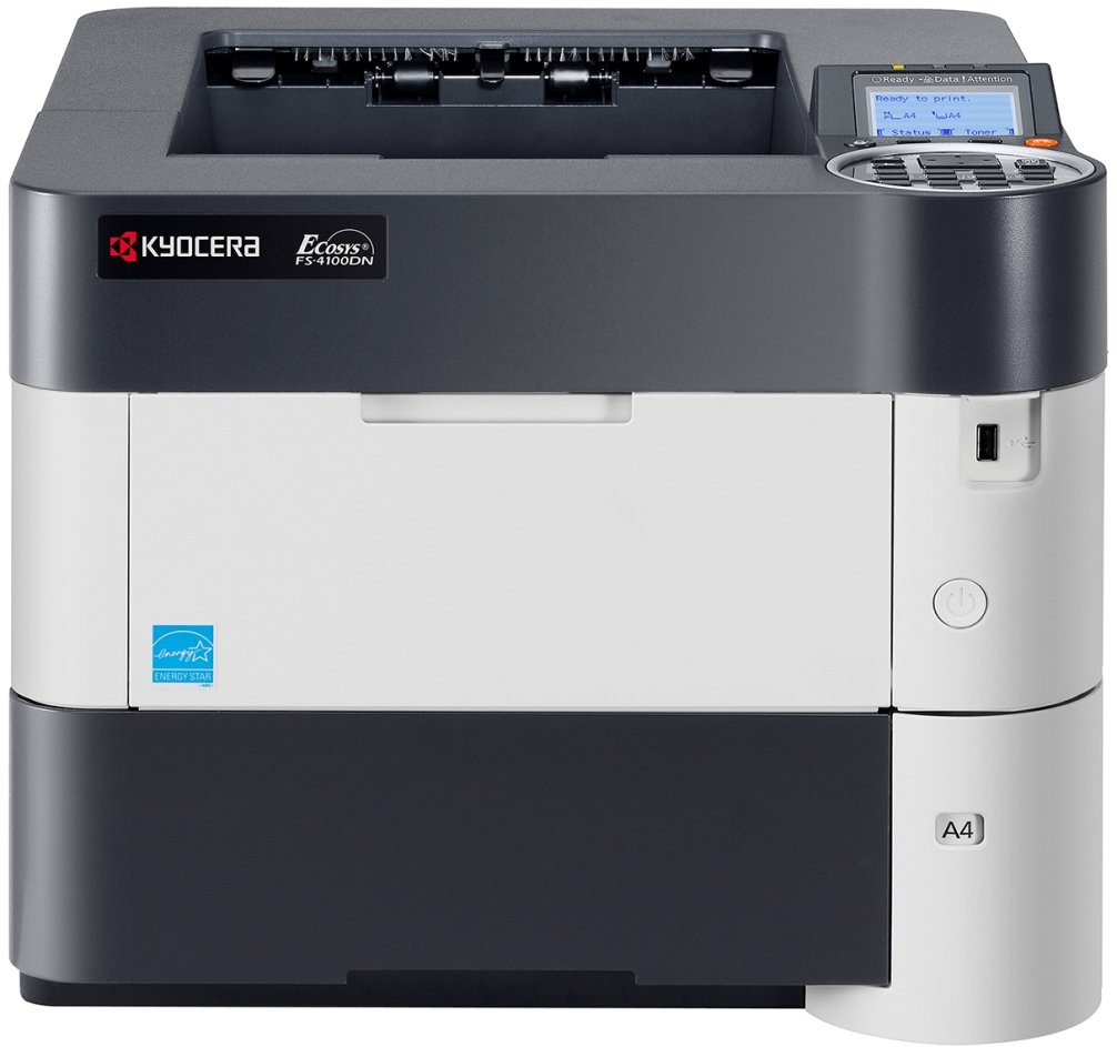 Kyocera 1102MT2US0 Model ECOSYS FS-4100DN Black & White Network Laser Printer, 47 Pages per Minute, 5 Line LCD Display Panel, 256MB RAM, Power PC 465S/750MHz CPU, 600 x 600 dpi, Up To Fine 1200 dpi
