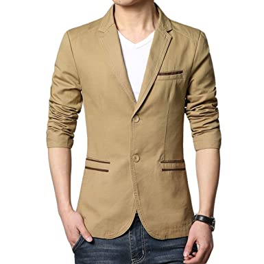 Col Veste V Casual Chic Blazer Cotton Vogue Été Slim Fit Homme La pHfSf0T