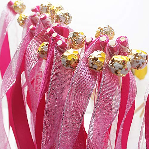 - zeman 24 pcs Rose Glittery Pink Lace Wands Ribbon Streamers with Bell Fairy Stick Party Favor for Baby Shower Holiday Celebration