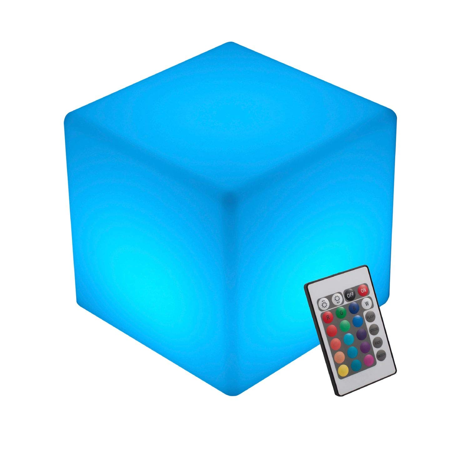 INNOKA 12-inch Large LED Cube Light, IP65 Waterproof Cordless & Rechargeable Decorative Dimmable Mood Lamp Remote Control [16 RGB Color Changing] [4 Lighting Effects] for Pool, Outdoor, Bedroom, Party
