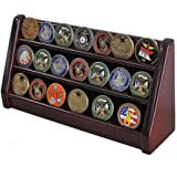 3 Row Challenge Coin Display Stand Rack Holder Stand (Mahogany Finish)